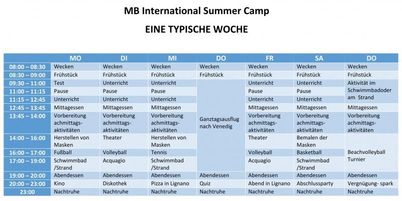 Eine typische woche - MB International Summer Camp