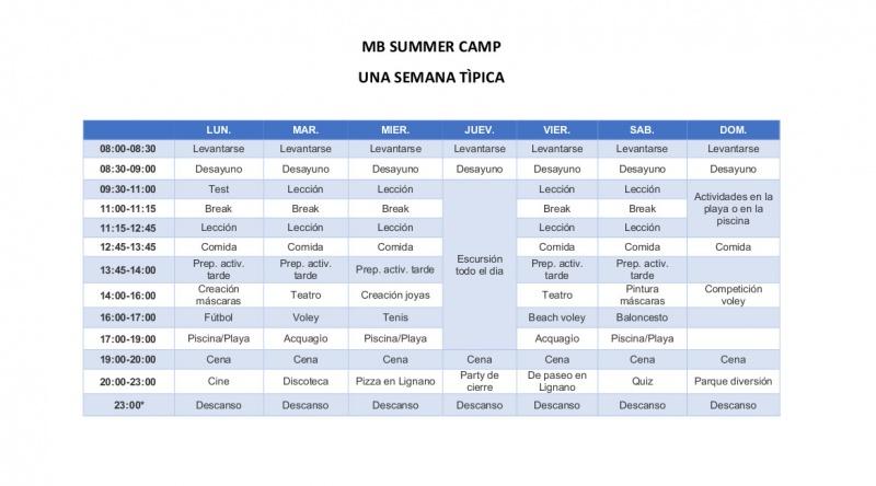 UNA SEMANA TIPICA - MB SUMMER CAMP