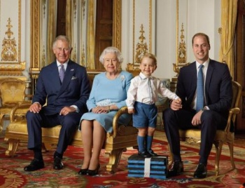 epa05268076 An undated photograph made available by the British Royal Mail, on 20 April 2016 showing Britain's Prince George standing on foam blocks during a Royal Mail photoshoot for a stamp sheet to mark the 90th birthday of Queen Elizabeth II. The sheet of stamps features four generations of the Royal family, (L-R), the Prince of Wales, Queen Elizabeth II, Prince George and the Duke of Cambridge, and the picture was taken in the summer of 2015 in the White Drawing Room at Buckingham Palace,Buckingham Palace, London, Britain. he Queen celebrates her 90th birthday on 21 April 2016. She will open a Post Office and band stand in Windsor on 20 April 2016.  EPA/RANALD MACKECHNIE / ROYAL MAIL / HANDOUT UK AND IRELAND OUT HANDOUT EDITORIAL USE ONLY/NO SALES